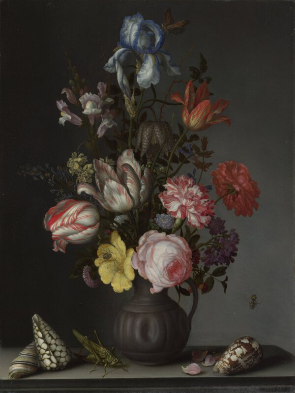 Balthasar Van Der Ast Flowers In A Vase With Shells And Insects