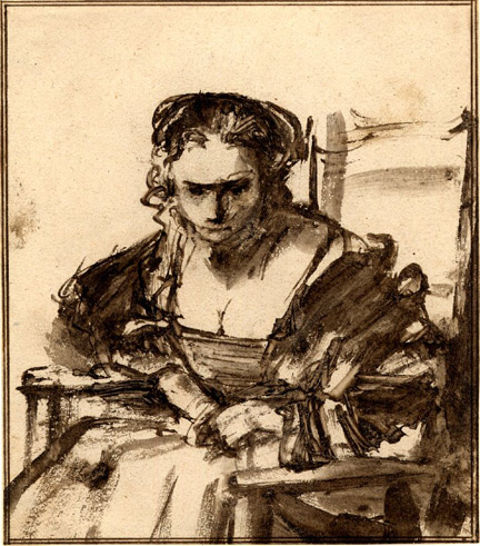 Rembrandt, 'A Seated Woman, (believed to be Hendrickje)' British Museum, London © The Trustees of the British Museum