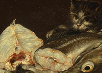 Adriaenssen the Elder, 'Still Life with Fish and Cat' on loan from York Museums Trust (York Art Gallery), © York Museums Trust