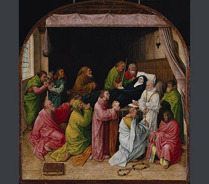 After Hugo van der Goes, 'The Death of the Virgin', late fifteenth century, Berlin, Staatliche Museen.