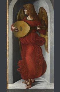 Associate of Leonardo, 'An Angel in Red with a Lute', probably 1490-9