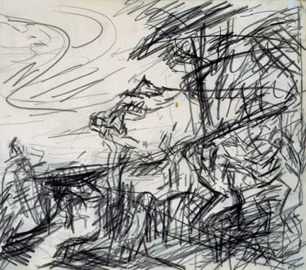 Frank Auerbach, Sketch from Titian's 'Bacchus and Ariadne', 1970-1. Tate, London © Frank Auerbach, courtesy Marlborough Fine Art. Photo © Tate, London 2015