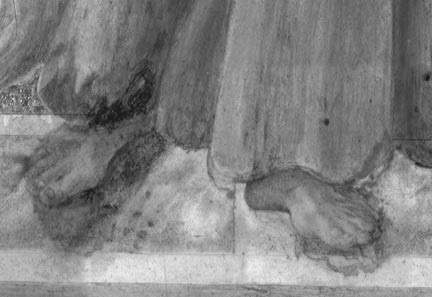 Infrared reflectogram of feet, from Sandro Botticelli, 'Saint Francis of Assisi with Angels'