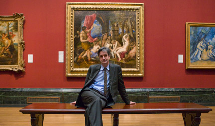 Dr Nicholas Penny in front of Diana and Actaeon
