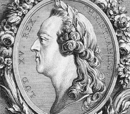 Detail of engraving of Louis XV from the 18th century