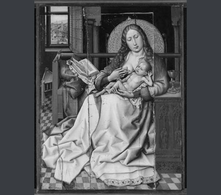 Follower of Robert Campin, 'The Virgin and Child before a Firescreen'.  After cleaning, before restoration.