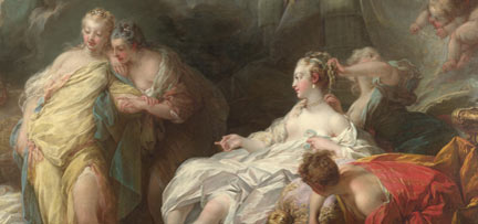 Detail from Fragonard, 'Psyche showing her Sisters her gifts from Cupid', 1753