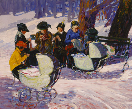 George Luks, 'Knitting for the Soldiers: High Bridge Park'