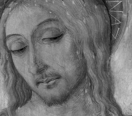 Detail of infrared reflectogram from Matteo di Giovanni, 'Christ Crowned with Thorns'