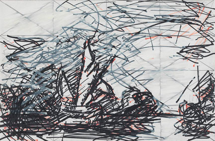 Frank Auerbach, Drawing after Turner's 'Ulysses deriding Polyphemus - Homer's Odyssey', 1983