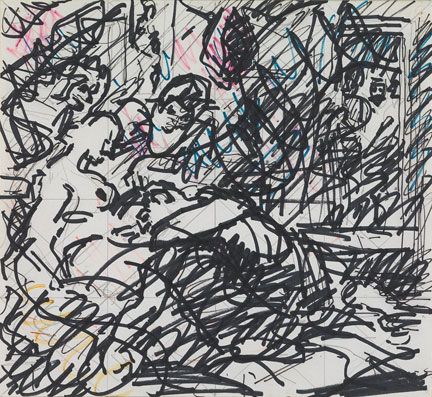 Frank Auerbach, Drawing after Rubens's 'Samson and Delilah', 1984