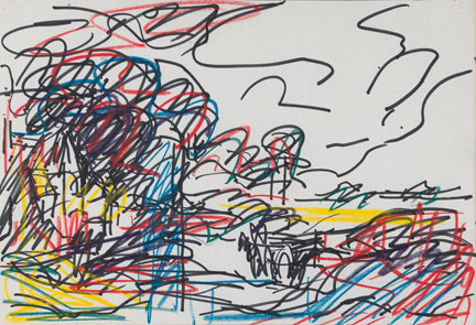 Frank Auerbach, Drawing after Constable's 'The Hay Wain', 1984