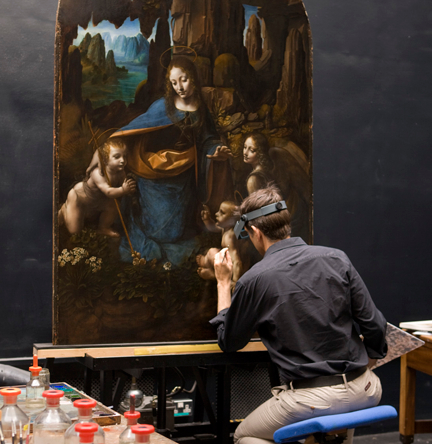 Leonardo Da Vinci's 'Virgin of the Rocks' in the conservation studio at the National Gallery, London.
