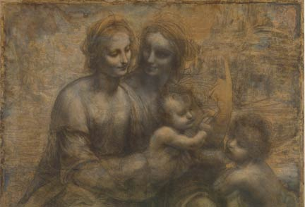 Detail from Leonardo, 'The Virgin and Child with Saint Anne and Saint John the Baptist, about 1499-1500