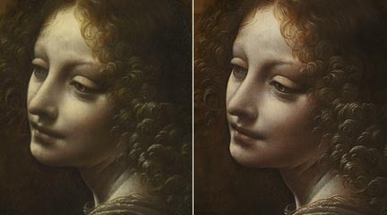 Comparison of the angel from Leonardo's 'The Virgin of the Rocks' before and after cleaning