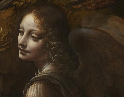 Detail from Leonardo, 'The Virgin of the Rocks', 1491-1508