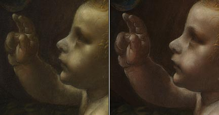 Comparison of the infant Christ in Leonardo's 'The Virgin of the Rocks' before and after cleaning