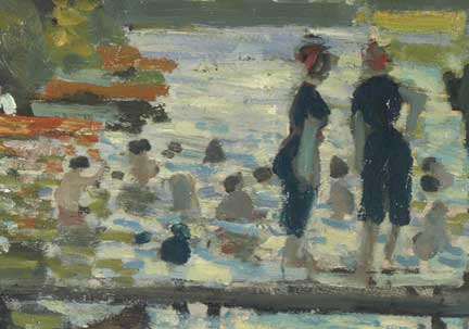 Detail from Monet, 'Bathers at La Grenouillère', 1869