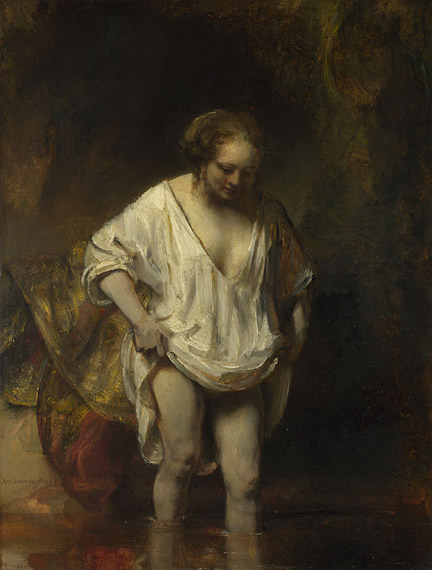 Rembrandt, A Woman bathing in a Stream (Hendrickje Stoffels?), 1654