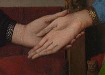 detail of hands clasping, Arnolfini Portrait, Van Eyck, 208 x 150