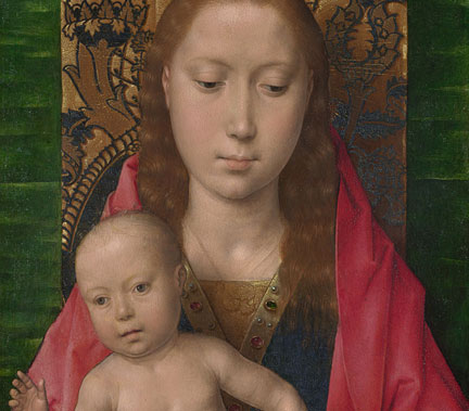 Detail from Hans Memling, 'Virgin and Child',  perhaps about 1475