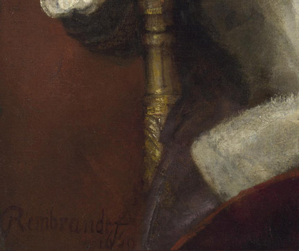 Detail of Rembrandt, 'Portrait of Hendrickje Stoffels', 1654–6 © The National Gallery, London