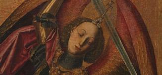 Detail from Bartolomé Bermejo, Saint Michael triumphant over the Devil with the Donor Antonio Juan, 1468