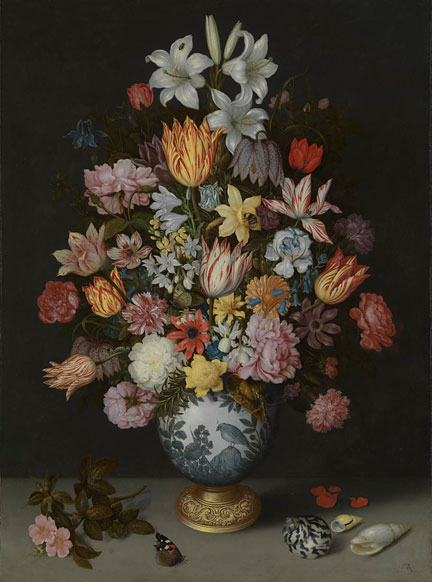 Ambrosius Bosschaert the Elder, A Still Life of Flowers in a Wan-Li Vase on a Ledge with further Flowers, Shells and a Butterfly, 1609-10 © The National Gallery, London