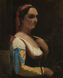 Jean-Baptiste-Camille Corot,'L'Italienne ou La Femme á la Manche Jaune (The Italian Woman, or Woman with Yellow Sleeve)', about 1870