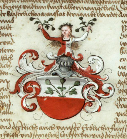 fig. 3 Detail from a grant of arms to Johannes Feige from the Emperor Maximilian I, parchment © Archiv der Philipps-Universität, Marburg, Urk. 91 Nr. 284