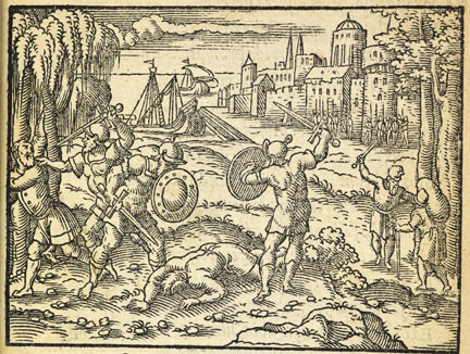fig. 6 Virgil Solis, 'The Bronze Age', from Ovid's Metamorphosis, 1563, woodcut, British Library, London © By permission of the British Library, London
