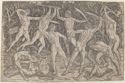 fig. 8 Antonio Pollaiuolo, 'The Battle of the Nudes', about 1470–95, engraving, National Gallery of Art, Washington, Rosenwald Collection, 1980.45.1161 © Image courtesy of the Board of Trustees, National Gallery of Art, Washington, DC