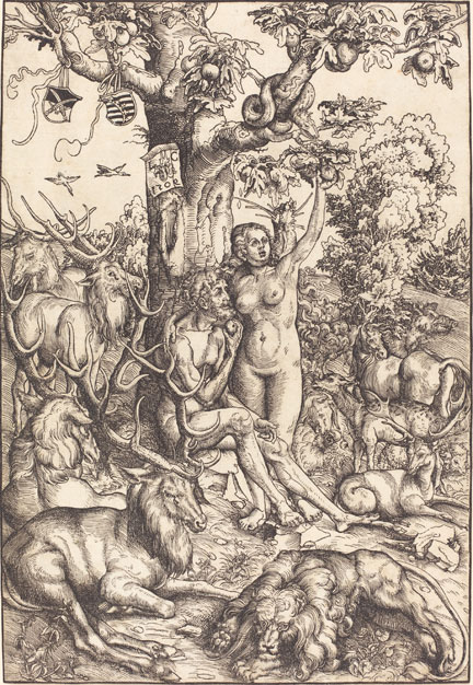fig. 8 Lucas Cranach the Elder, 'Adam and Eve', 1509, woodcut, National Gallery of Art, Washington, Rosenwald Collection, 1943.3.2884 © Image courtesy of the Board of Trustees, National Gallery of Art, Washington, DC