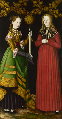 Lucas Cranach the Elder (1472 – 1553) 'Saints Genevieve and Apollonia', 1506, NG6511.1
