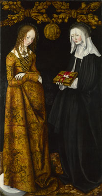 Lucas Cranach the Elder, 'Saints Christina and Ottilia', 1506, NG6511.2