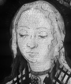fig. 5 Infrared reflectogram of NG6511.1 showing a detail of the head of Saint Apollonia