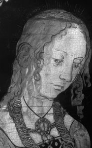 fig. 6 Infrared reflectogram of NG6511.2 showing the head of Saint Christina