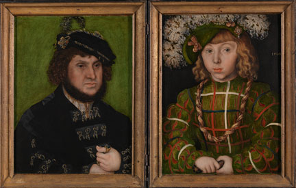 Lucas Cranach the Elder, 'Portrait of Johann the Steadfast', 1509 NG6538 (left) Lucas Cranach the Elder, 'Portrait of Johann Friedrich the Magnanimous', 1509, NG6539 (right)