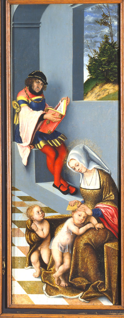 fig. 5 Lucas Cranach the Elder, Right-hand shutter of the altarpiece of the Holy Kindred showing a portrait of Elector Johann the Steadfast, 1509, Städelsches Kunstinstitut, Frankfurt am Main © Städel Museum – Artothek