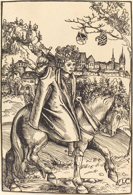 fig. 6 Lucas Cranach the Elder, Detail from 'A Saxon Prince on Horseback', 1506, woodcut, National Gallery of Art, Washington, Rosenwald Collection 1950.1.51 © Image courtesy of the Board of Trustees, National Gallery of Art, Washington, DC