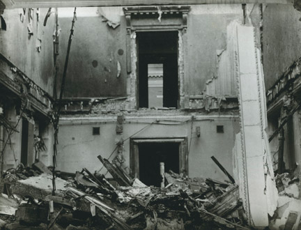 Room 26 (now room 10) and west reference section following a bomb attack during WW2