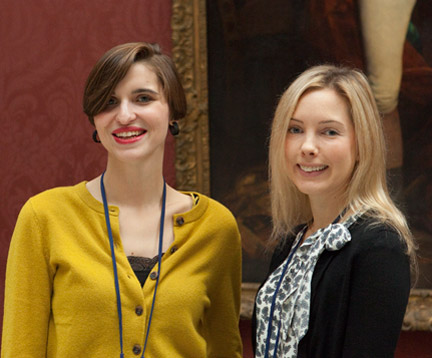 Eloise Donnelly and Helen Hillyard, Curatorial Trainees, photographed in the gallery.