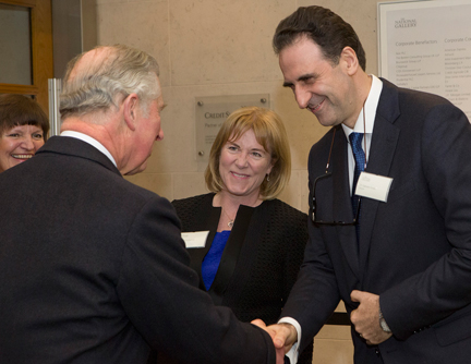 HRH The Prince of Wales with National Gallery Chair of Trustees, Hannah Rothschild, and Director, Dr Gabriele Finaldi