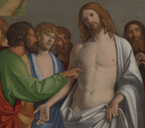 Detail from Giovanni Battista Cima da Conegliano, 'The Incredulity of Saint Thomas', about 1502-4