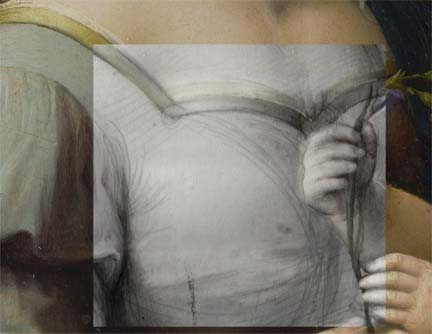 Detail from Raphael, 'The Madonna of the Pinks', showing changes to the underdrawing