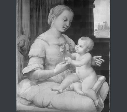 Infrared reflectogram of Raphael, 'The Madonna of the Pinks'