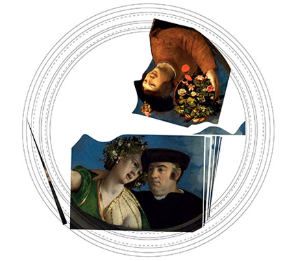 Reconstruction by Jill Dunkerton of Dosso Dossi's ceiling 'tondo'