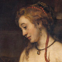 Detail of 'Bathsheba with King David's Letter' showing Bathsheba's expression.