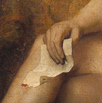 Detail of 'Bathsheba with King David's Letter' showing King David's Letter.