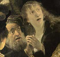 Detail from Rembrandt, 'Belshazzar's Feast', about 1635